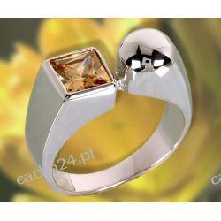 Srebrny pierścionek z kwadratową herbacianą cyrkonią