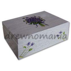 drewniane pudełko z motywem fiołków