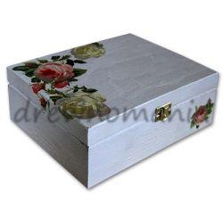 drewniane pudełko z motywem róż
