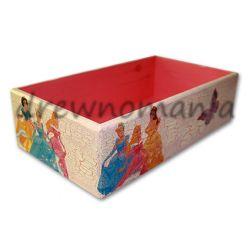 drewniany pojemnik na kredki z motywem księżniczek