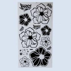 NAKLEJKA NAKLEJKI ŚCIANA MEBLE czarne kwiaty Zegary
