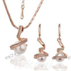 Komplet Biżuterii kolczyki naszyjnik Perła