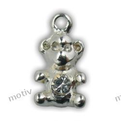 Kolczyk do paznokci miś srebrny z cyrkonią SILVER DESIGN