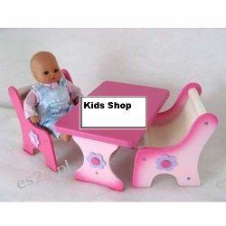 Drewniany komplet stolik + 2 krzesełka dla lalek