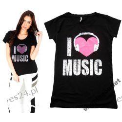 Modna Bluzka T-shirt Love Music Serce Fishbone 38