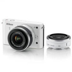 Nikon 1 J1 Mirrorless Digital Camera with 10mm WA/10-30mm Zoom Lens (White)