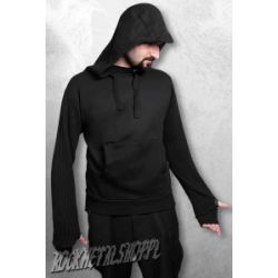 bluza SUPARIBBED - czarna, z kapturem