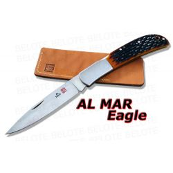 Al Mar EAGLE Honey Jigged Bone Folder w/ Pouch 1005HJB