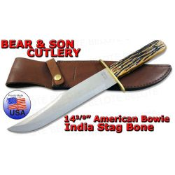 "Bear & Son 14 3/8"" American Bowie Stag w/ Sheath 502"