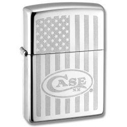 W.R. Case & Sons Zippo Windproof Lighter w/ USA Flag Design & Case Logo 50158