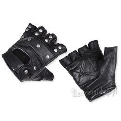 rękawiczki SKÓRZANE bez palców z ćwiekami