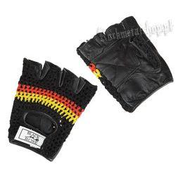 rękawiczki SKÓRZANE SIATKA bez palców (59031-06)
