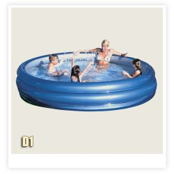 Basen D 1 okrągły, srebrno-niebieski ( 249 x 53 ) #51044