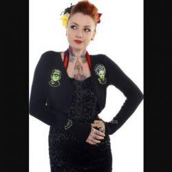 Green Frankenstein & Zombie Bride Black Bolero by Banned