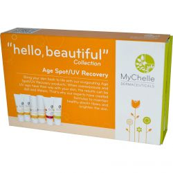 """MyChelle Dermaceuticals, """"Hello, Beautiful"""" Collection, Age Spot/UV Recovery Sample Kit, 6 Piece Kit - iHerb.com"""