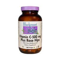 Bluebonnet Nutrition, Vitamin C-500 mg Plus Rose Hips, 180 Vcaps