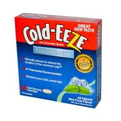 Cold Eeze, Zinc Gluconate Glycine, Cold Remedy, Mint Frost Flavor, 18 Cold Remedy Lozenges