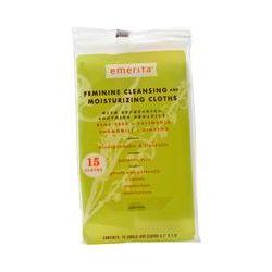 "Emerita, Feminine Cleansing and Moisturizing Cloths, 15 Single-Use Cloths 5.7"" X 7.8"""