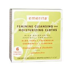 Emerita, Feminine Cleansing and Moisturizing Cloths, 6 Travel Cloths
