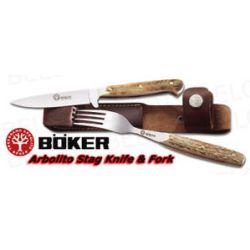 Boker Arbolito Stamigo Stag Knife Fork Set 03BA501HH