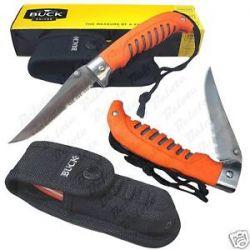 Buck Knives Orange Gamut Folding Knife w Sheath 460ORX