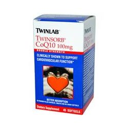 Twinlab, Twinsorb CoQ10, Double Strength, 100 mg, 45 Softgels