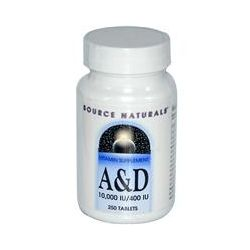 Source Naturals, A & D, 10,000 IU/400 IU, 250 Tablets