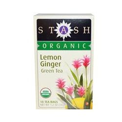 Stash Tea Company, Organic Premium, Green Tea, Lemon Ginger, 18 Tea Bags, 1.2 oz (36 g)