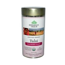 Organic India, Tulsi Tea, Loose Leaf Blend, Raspberry Peach, Caffeine Free, 3.5 oz (100 g)