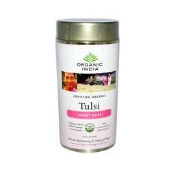 Organic India, Tulsi Tea, Loose Leaf Blend, Sweet Rose, Caffeine-Free, 3.5 oz (100 g)