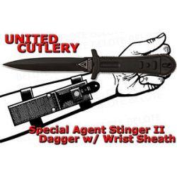 United Cutlery Special Agent Stinger II Black Dagger w Wrist Sheath UC2751B New