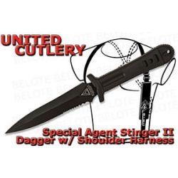 United Cutlery Special Agent Stinger II Black Dagger w Shoulder Harness UC2748B