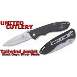 United Cutlery Tailwind Assisted Black Onyx Silver Blade Folding Knife UC2700