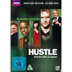 Film: Hustle - Unehrlich währt am längsten - Staffel 1  von Robert Glenister, Robert Vaughn, Rob Jarvis von Bharat Nalluri, Minkie Spiro, Rob Bailey von BBC mit Robert Glenister, Robert Vaughn, Rob