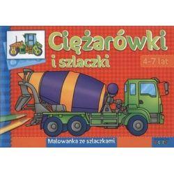 Ciężarówki i szlaczki malowanka ze szlaczkami
