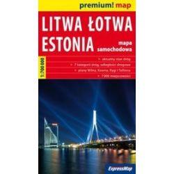 Litwa, Łotwa, Estonia 1:700 000 - mapa samochodowa
