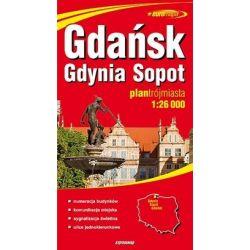 Gdańsk, Gdynia, Sopot - papierowy plan miasta w skali 1: 26 000