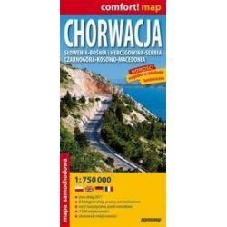 Chorwacja, Słowenia, Bośnia i Hercegowina, Serbia, Czarnogóra, Kosowo, Macedonia - mapa samochodowa 1:750 000
