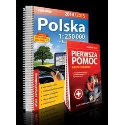 Polska 1:250 000 - atlas samochodowy + laminowana instrukcja pierwszej pomocy