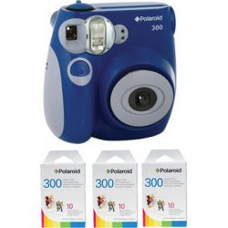 Polaroid 300 Instant Film Camera (Blue) with (3 pack) Instant