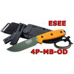 ESEE Model 4 OD Plain Edge w MOLLE Sheath 4P MB OD
