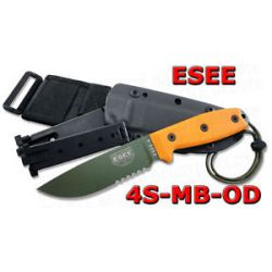 ESEE Model 4 OD Serrated Edge w MOLLE Sheath 4S MB OD