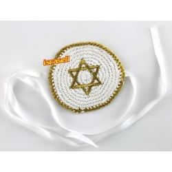 Baby Knitted Kippah with Gold Star of David Jewish Yamaka Hat Cap Ties