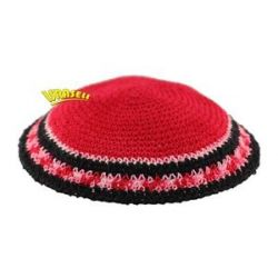 Red Kippah Knitted Jewish Yamaka Hat Cap Judaica