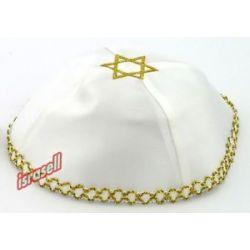 White Kippah with Gold Star of David Jewish Yamaka Hat Cap