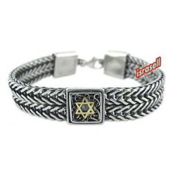 Star of David Bracelet from Israel 925 Sterling Silver Gold Cat Eye Hand Made