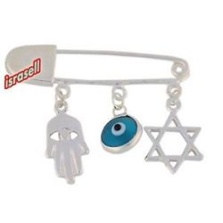 925 Sterling Silver Baby Pin with Evil Eye Hamsa Star of David Charm Gift