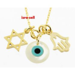 Evil Eye Protection Star of David Hamsa Necklace Luck Charm Talisman