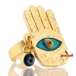 Hamsa Ring with Evil Eye Gold Plated Charm Luck Protection