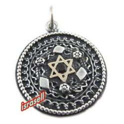 925 Sterling Silver Gold Star of David Filigree Pendant Jewish Gift Judaica